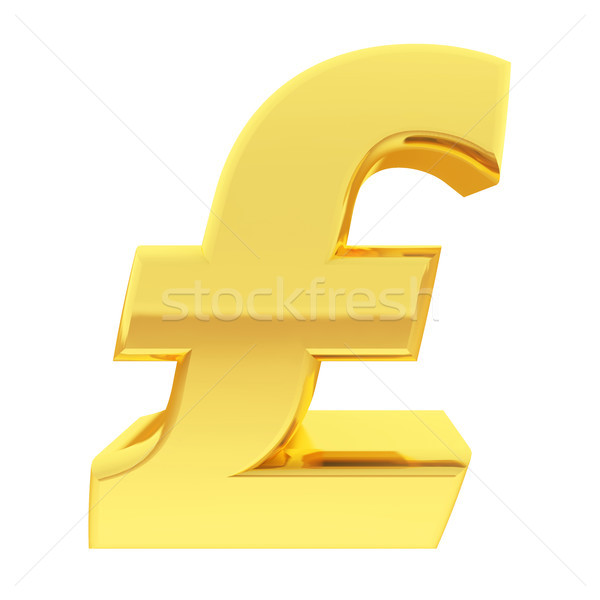 Gold pound sign with gradient reflections isolated on white Stock photo © oneo