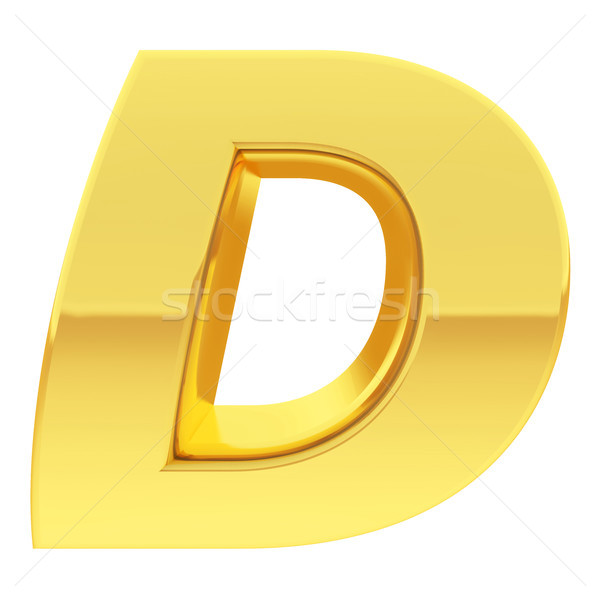 Gold alphabet symbol letter D with gradient reflections isolated on white Stock photo © oneo