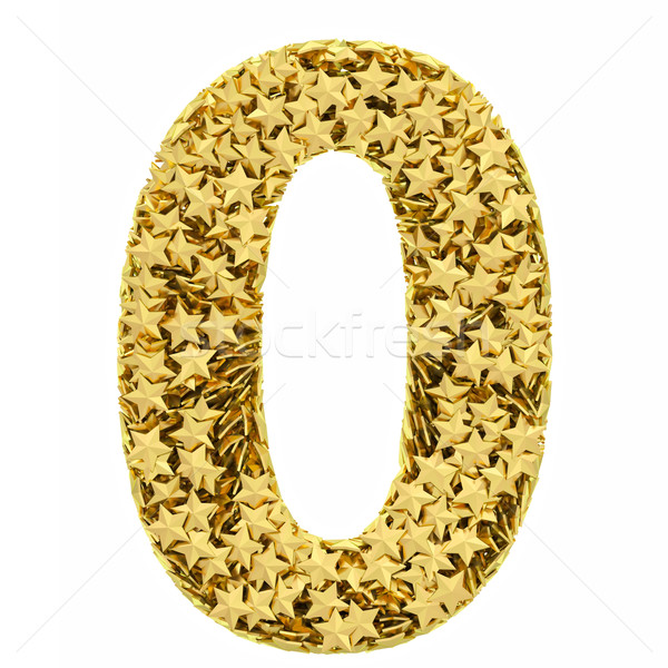 Number 0 composed of golden stars isolated on white Stock photo © oneo