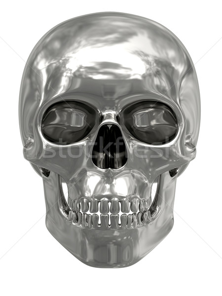 Silver or platinum skull isolated on white Stock photo © oneo