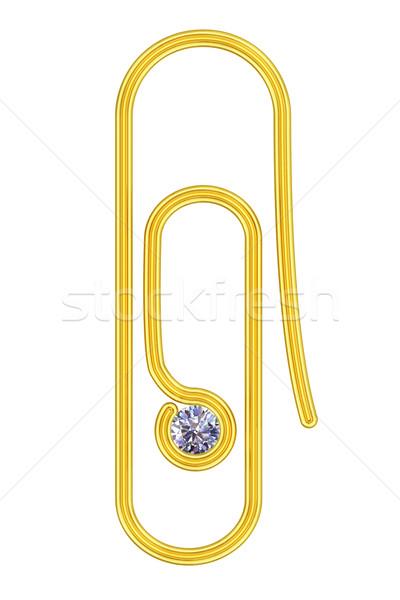 Złoty spinacz diament odizolowany biały wysoki Zdjęcia stock © oneo
