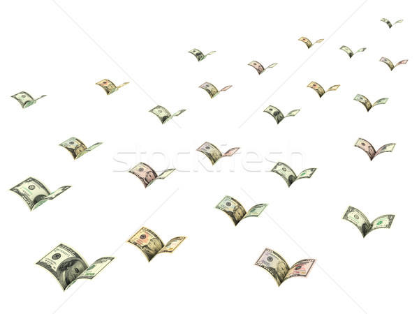 Winged dollar banknotes are flying away isolated on white Stock photo © oneo