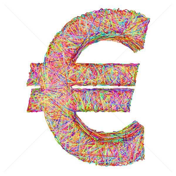 Euro assinar colorido isolado branco alto Foto stock © oneo