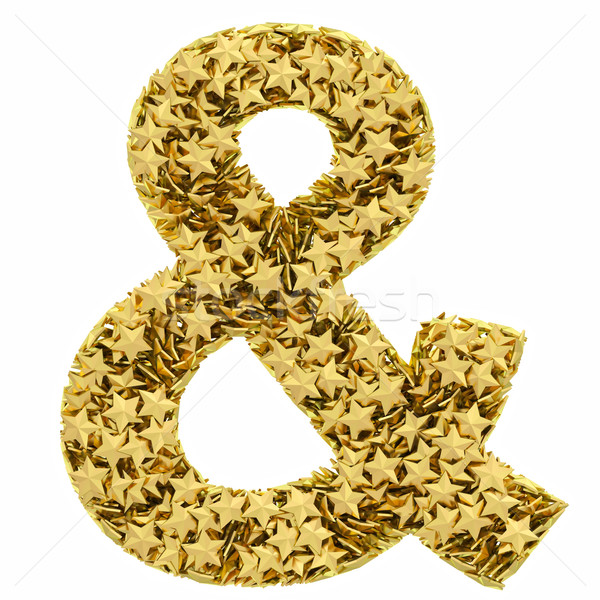 Signo dorado estrellas aislado blanco alto Foto stock © oneo