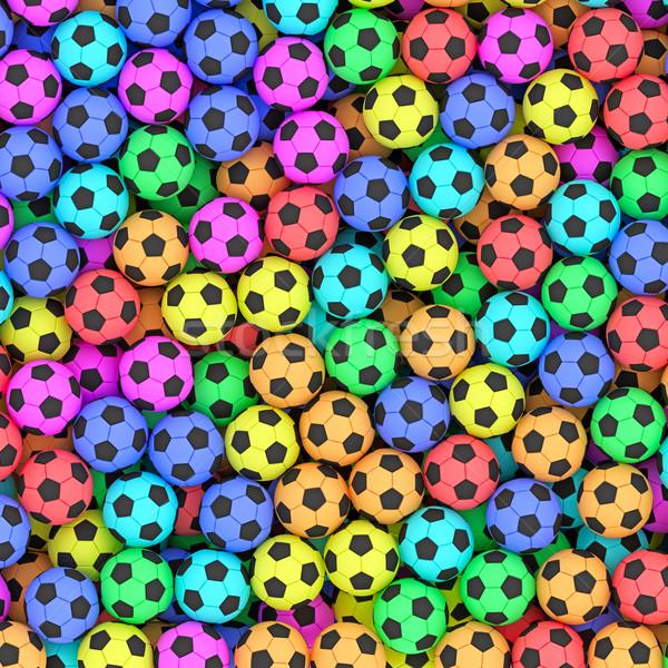 Kleurrijk voetbal hoog 3D Stockfoto © oneo