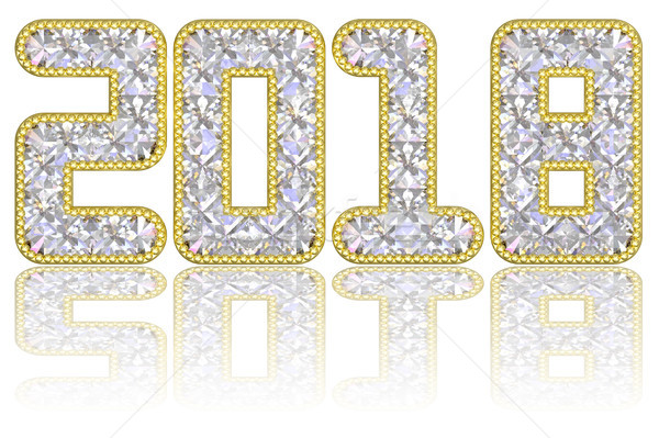2018 digits composed of gems in golden rim on glossy white background Stock photo © oneo