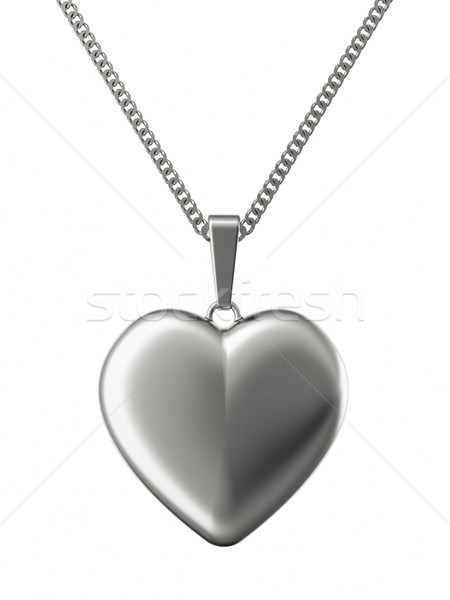Silver pendant in shape of heart on chain Stock photo © oneo