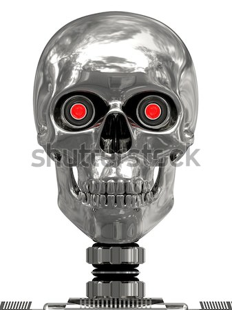 Metallic cyborg in helmet with horns Stock photo © oneo