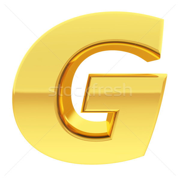 Gold alphabet symbol letter G with gradient reflections isolated on white Stock photo © oneo