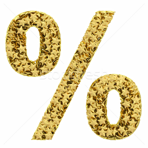 Percent sign composed of golden stars isolated on white Stock photo © oneo
