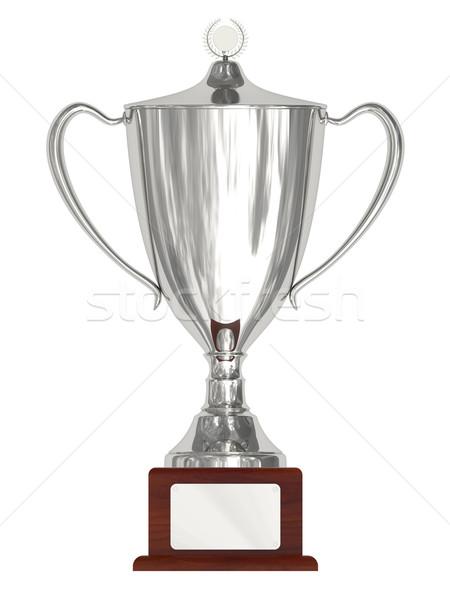 Argento trofeo Cup legno piatto isolato Foto d'archivio © oneo