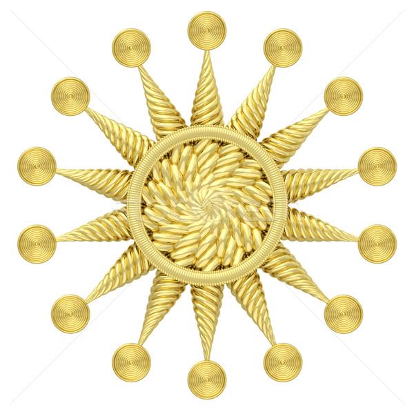 Dourado estrela símbolo isolado branco alto Foto stock © oneo