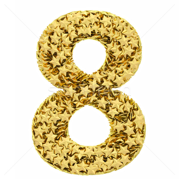 Number 8 composed of golden stars isolated on white Stock photo © oneo