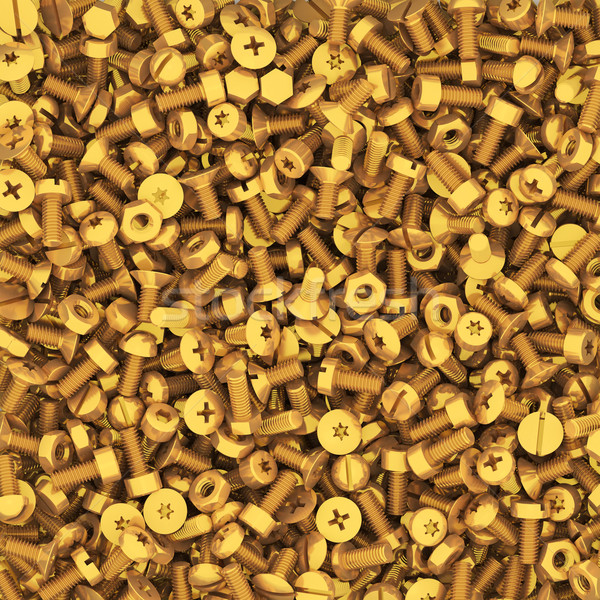 Background of multiple gold bolts and nuts Stock photo © oneo