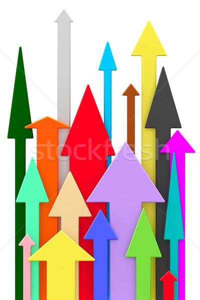 Foto stock: Diferente · colorido · flechas · blanco · alto