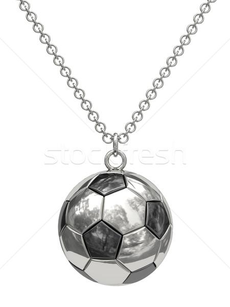 серебро форма футбольным мячом цепь изолированный белый Сток-фото © oneo