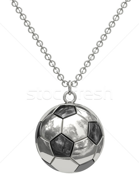 Prata forma futebol cadeia isolado branco Foto stock © oneo
