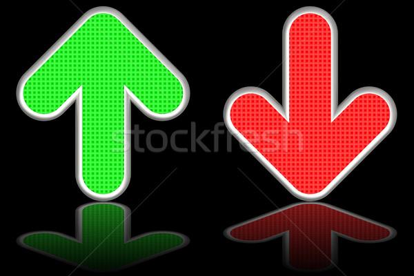 Verde para cima vermelho para baixo Foto stock © oneo