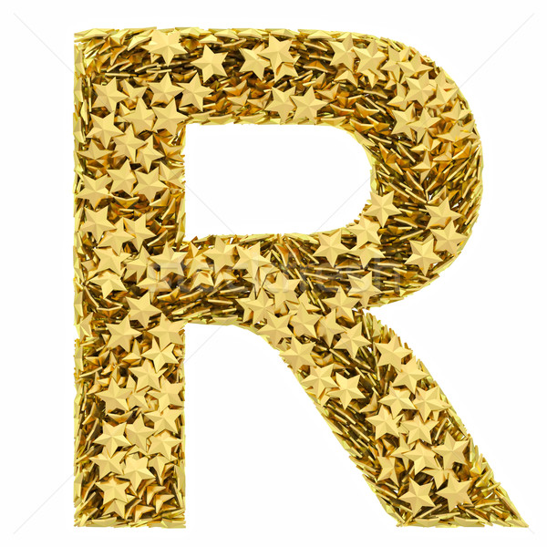 Letter R composed of golden stars isolated on white Stock photo © oneo