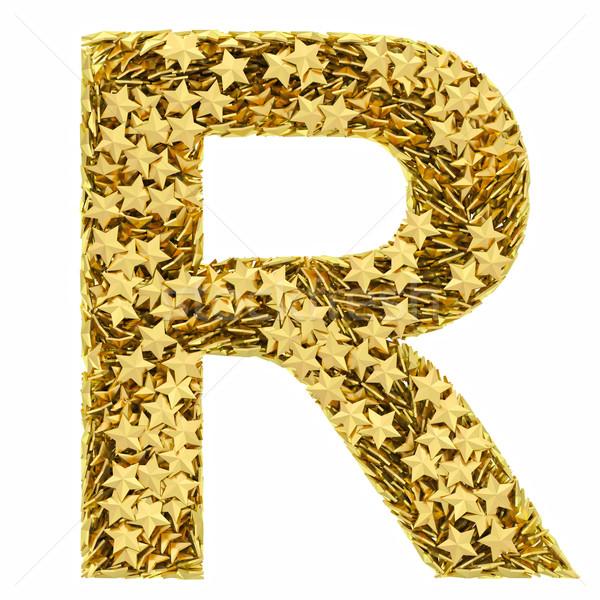 Letra r dourado estrelas isolado branco alto Foto stock © oneo
