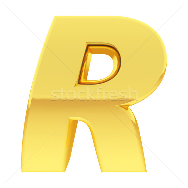 Gold alphabet symbol letter R with gradient reflections isolated on white Stock photo © oneo