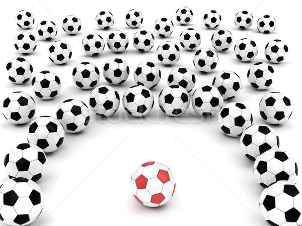 Football autour chef d'équipe blanche rendu Photo stock © oneo