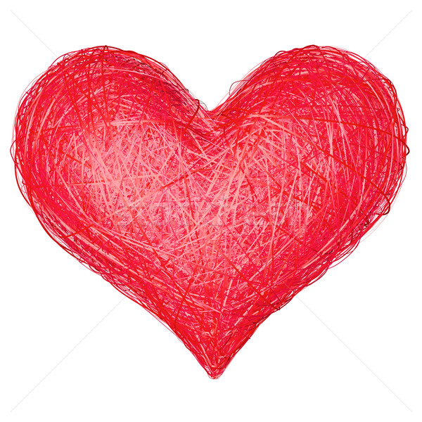 Heart shape composed of red ribbons isolated on white Stock photo © oneo