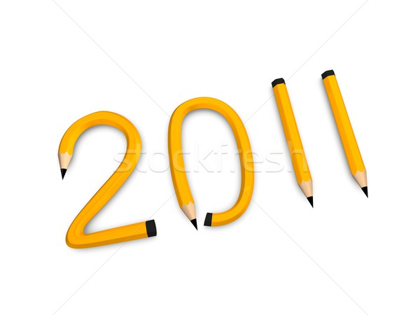 Ano 2011 lápis ano novo gráfico Foto stock © OneO2