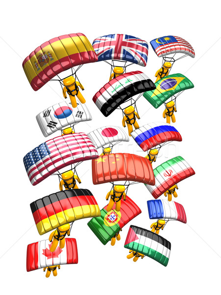 парашютом стране флаг 3D изображение небе Сток-фото © OneO2