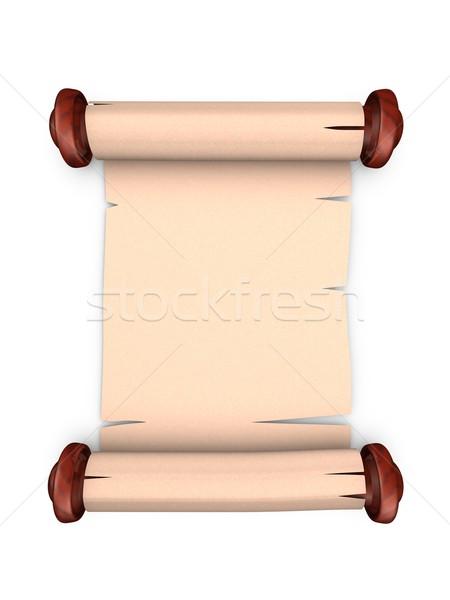 öreg tekercs kézirat régi pergamen üres hely izolált Stock fotó © OneO2