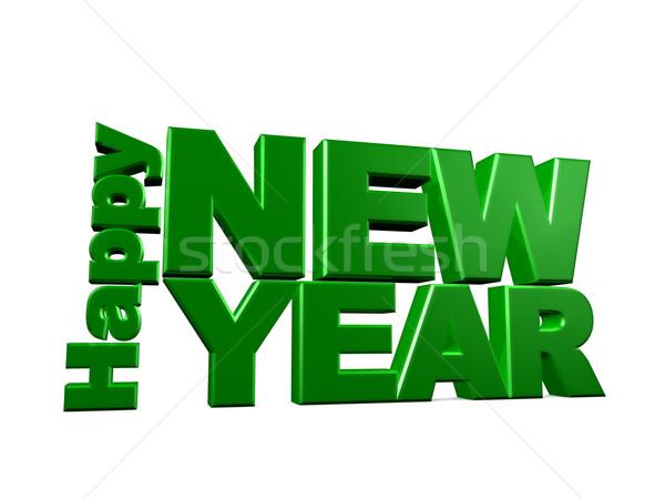 Happy new year 3D görüntü yeşil grafik kutlama Stok fotoğraf © OneO2