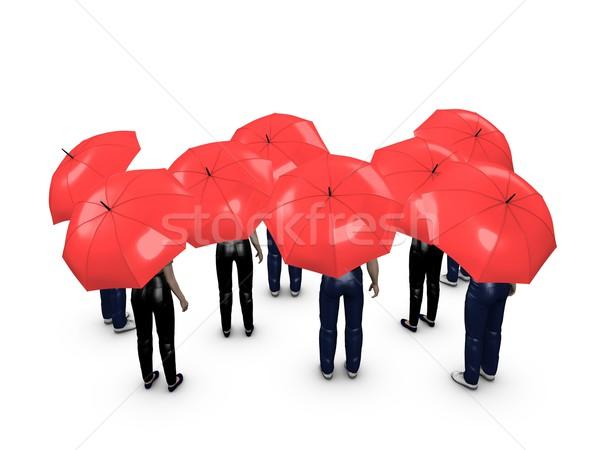 Crowd with umbrella Stock photo © OneO2