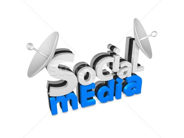 Social media 3D 3d tekst geïsoleerd witte Stockfoto © OneO2