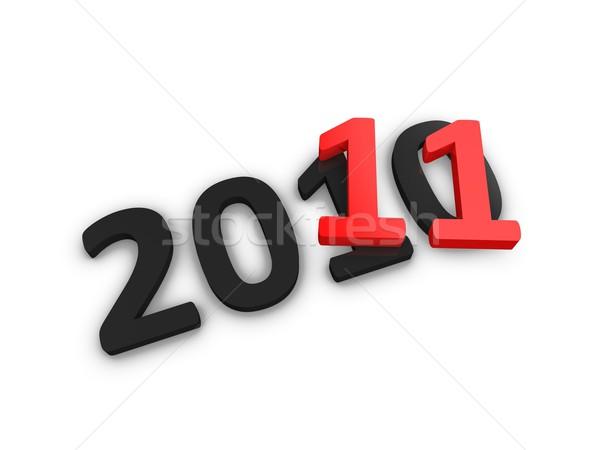 Año 2011 año nuevo texto en 3d aislado celebración Foto stock © OneO2