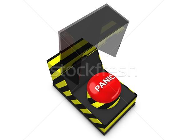 Panika przycisk 3D obraz bezpieczeństwa naciśnij Zdjęcia stock © OneO2