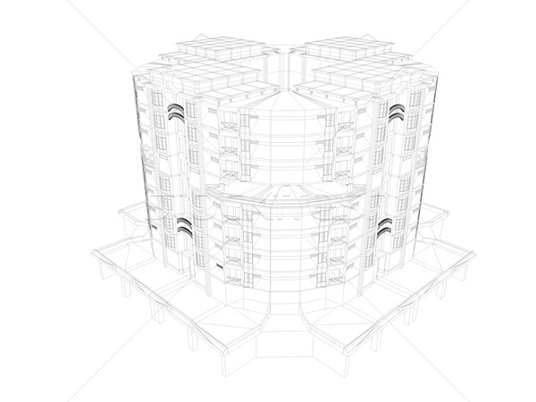 Wireframe 3D imagem apartamento negócio edifício Foto stock © OneO2