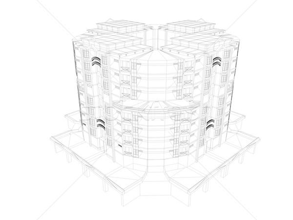 Черно-белые 3D изображение квартиру бизнеса здании Сток-фото © OneO2