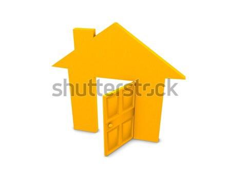 Nyitva ház 3d illusztráció kép izolált fehér Stock fotó © OneO2