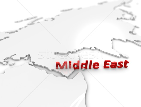 Közel-Kelet régió 3d illusztráció térkép fehér háttér Stock fotó © OneO2