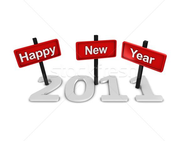 Feliz ano novo 2011 assinar isolado branco feliz Foto stock © OneO2