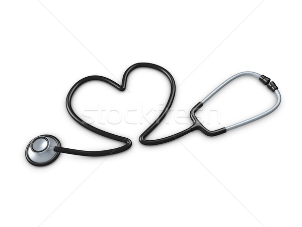 Stok fotoğraf: Stetoskop · 3D · görüntü · kalp · tüp