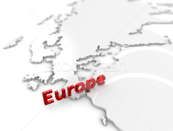 Europa regio kaart 3d illustration witte euro Stockfoto © OneO2