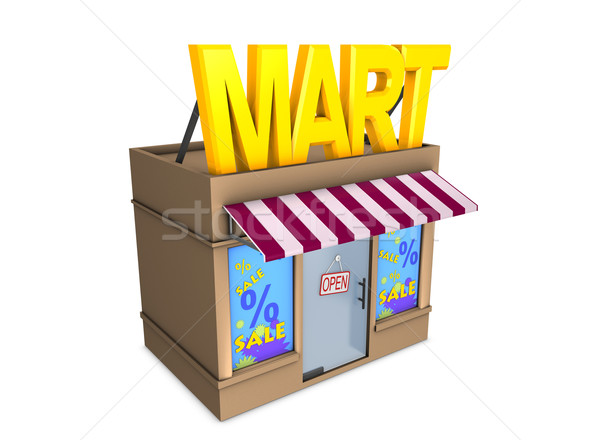 3D image mini affaires magasin vente Photo stock © OneO2