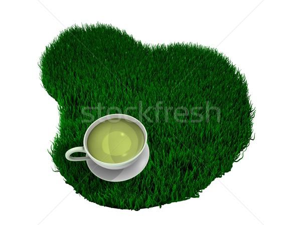 Zöld tea csésze zöld fű kivágás izolált víz Stock fotó © OneO2