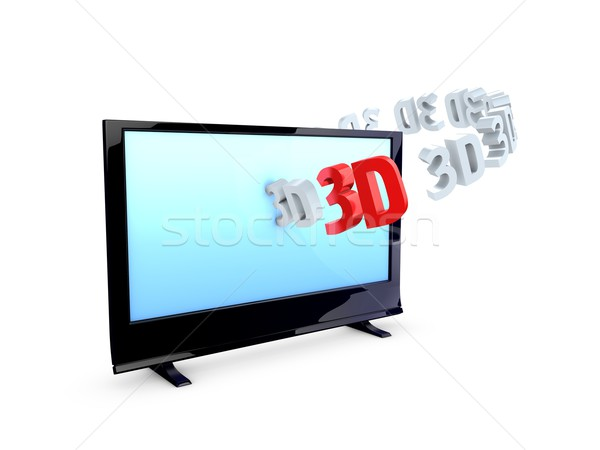 3D tv kép hdtv izolált fehér Stock fotó © OneO2