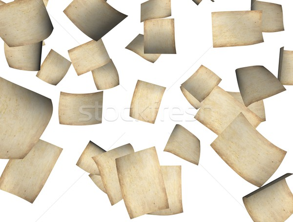 Düşen kâğıt 3D görüntü Eski kağıt Stok fotoğraf © OneO2