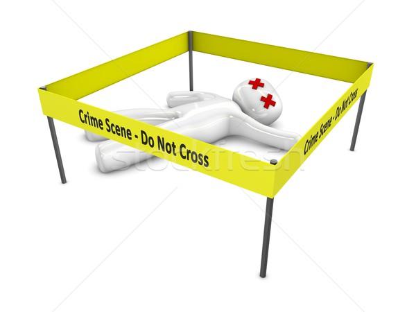 место совершения преступления 3D изолированный белый крест Сток-фото © OneO2