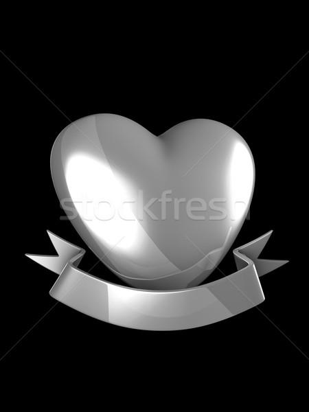 Silver heart badge Stock photo © OneO2
