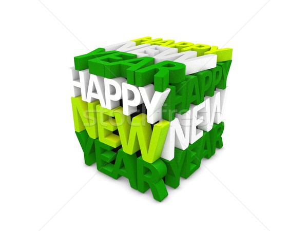 Happy new year texte 3d isolé blanche art wallpaper Photo stock © OneO2