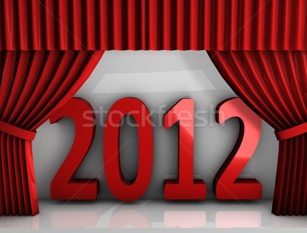 2012 red curtain Stock photo © OneO2